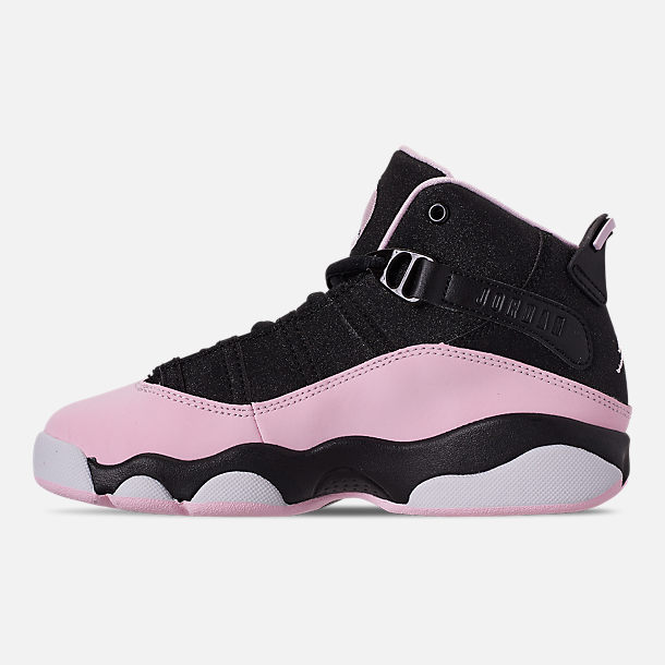 2969a1f33dbafa Left view of Girls  Little Kids  Air Jordan 6 Rings Basketball Shoes in  Black