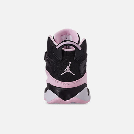 74becea257e0ab Back view of Girls  Little Kids  Air Jordan 6 Rings Basketball Shoes in  Black