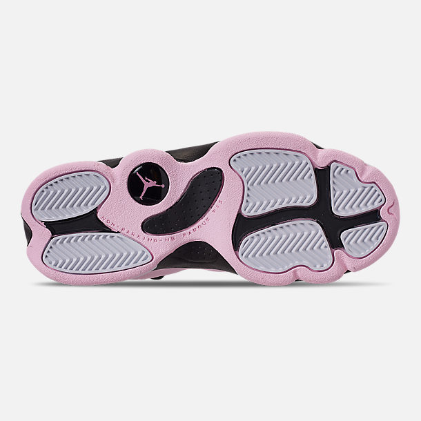 Bottom view of Girls' Little Kids' Air Jordan 6 Rings Basketball Shoes in Black/Pink Foam/Anthracite/White
