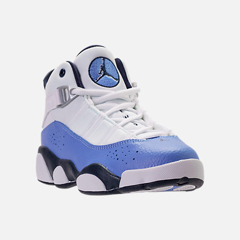 Three Quarter view of Girls' Preschool Air Jordan 6 Rings Basketball Shoes in White/Midnight Navy/Royal Pulse