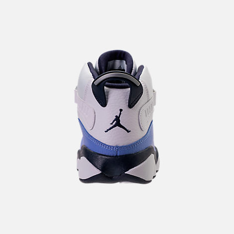 Back view of Girls' Preschool Air Jordan 6 Rings Basketball Shoes in White/Midnight Navy/Royal Pulse