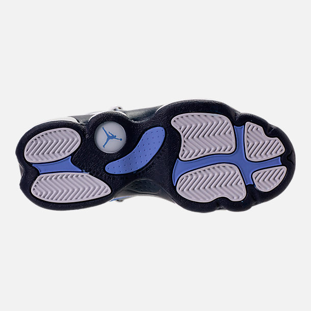Bottom view of Girls' Preschool Air Jordan 6 Rings Basketball Shoes in White/Midnight Navy/Royal Pulse