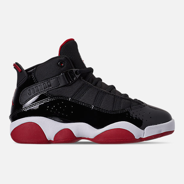Right view of Boys' Little Kids' Air Jordan 6 Rings Basketball Shoes in Black/Varsity Red/White