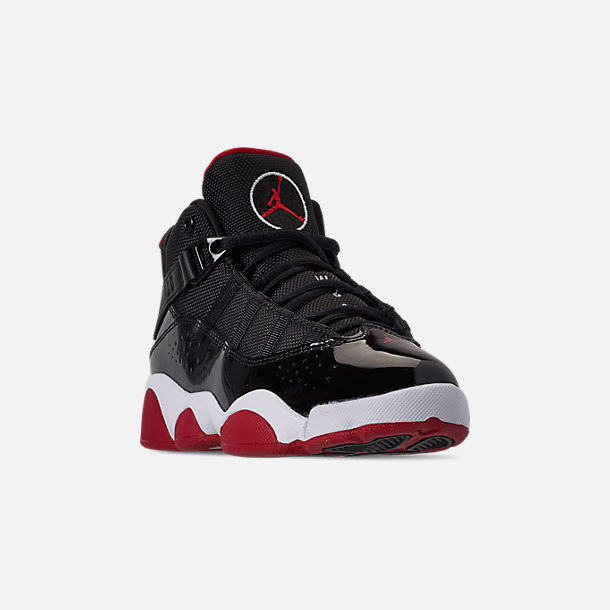 Three Quarter view of Boys' Little Kids' Air Jordan 6 Rings Basketball Shoes in Black/Varsity Red/White