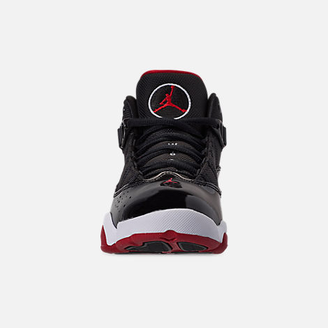 Front view of Boys' Little Kids' Air Jordan 6 Rings Basketball Shoes in Black/Varsity Red/White