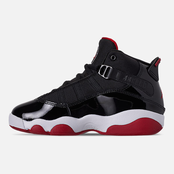 Left view of Boys' Little Kids' Air Jordan 6 Rings Basketball Shoes in Black/Varsity Red/White