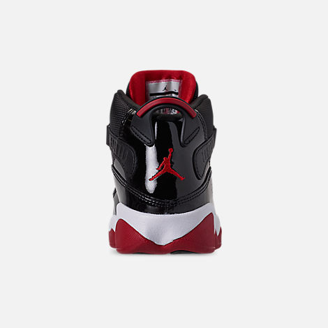 Back view of Boys' Little Kids' Air Jordan 6 Rings Basketball Shoes in Black/Varsity Red/White