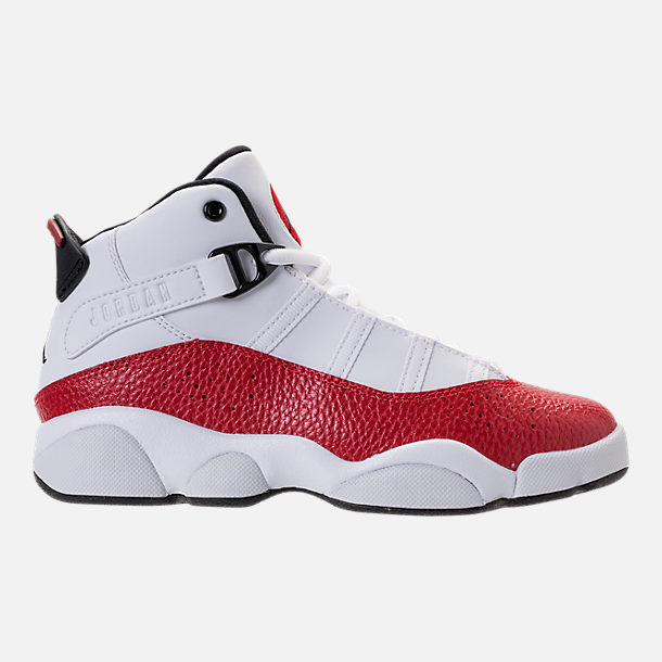 Right view of Boys' Preschool Air Jordan 6 Rings Basketball Shoes in White/Black/University Red