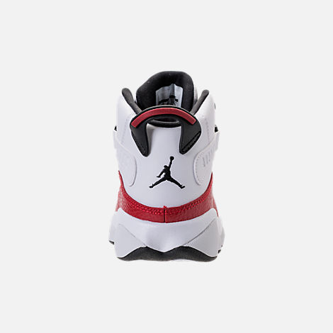 Back view of Boys' Preschool Air Jordan 6 Rings Basketball Shoes in White/Black/University Red