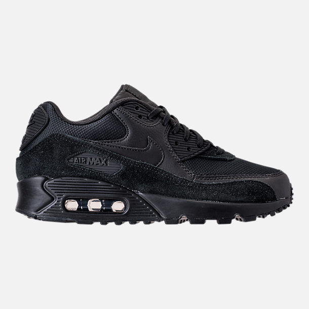 Right view of Women's Nike Air Max 90 Running Shoes in Black/Black/Black