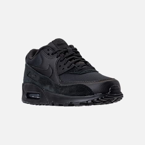 Three Quarter view of Women's Nike Air Max 90 Running Shoes in Black/Black/Black