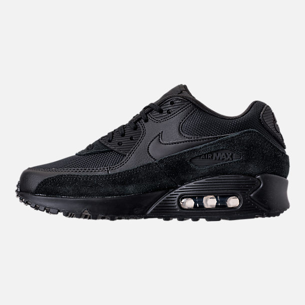 Left view of Women's Nike Air Max 90 Running Shoes in Black/Black/Black