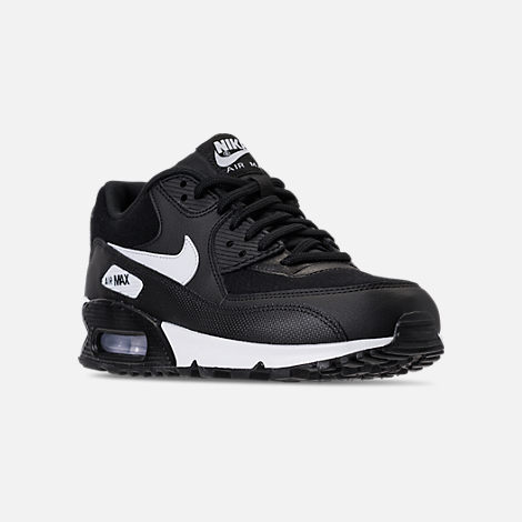 Three Quarter view of Women's Nike Air Max 90 Casual Shoes in Black/White