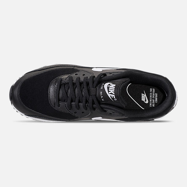 Top view of Women's Nike Air Max 90 Casual Shoes in Black/White