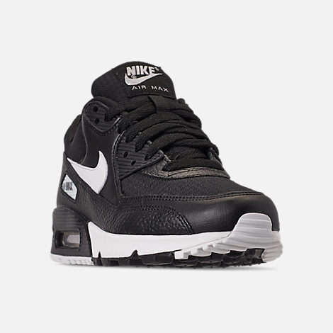 Three Quarter view of Women's Nike Air Max 90 Casual Shoes in Black/Summit White/Black