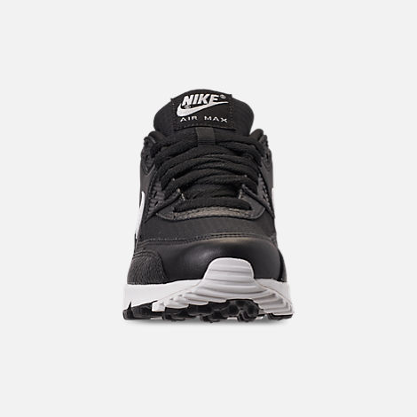 Front view of Women's Nike Air Max 90 Casual Shoes in Black/Summit White/Black