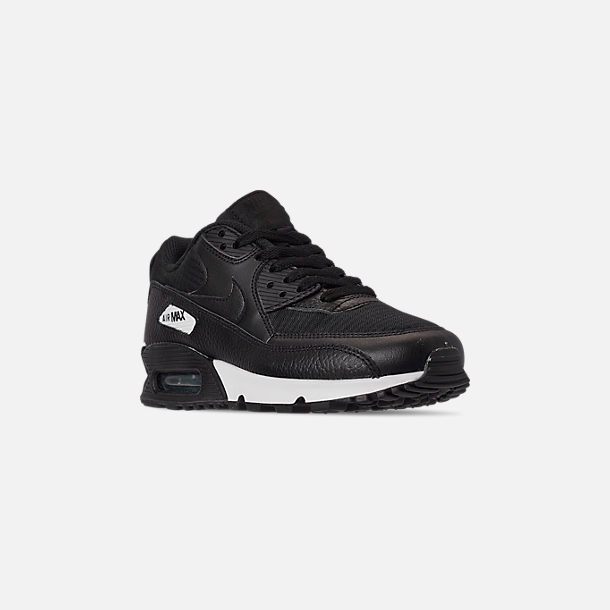 Three Quarter view of Women's Nike Air Max 90 Casual Shoes in Black/Black/Black/White