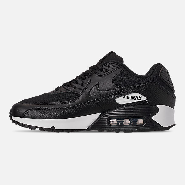 Left view of Women's Nike Air Max 90 Casual Shoes in Black/Black/Black/White