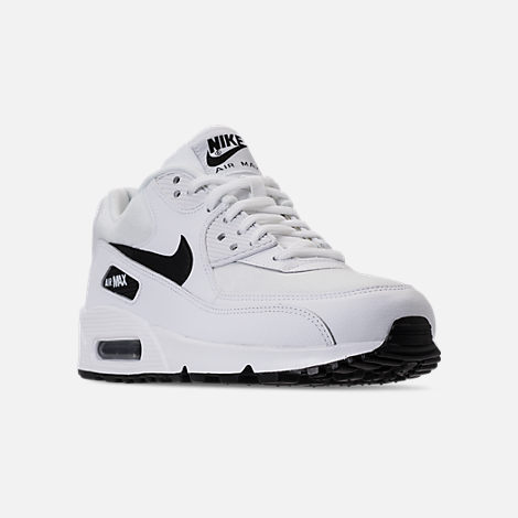 Three Quarter view of Women's Nike Air Max 90 Casual Shoes in White/Black