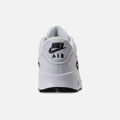 Back view of Women's Nike Air Max 90 Casual Shoes in White/Black