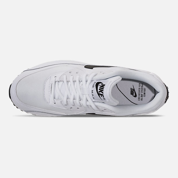 Top view of Women's Nike Air Max 90 Casual Shoes in White/Black