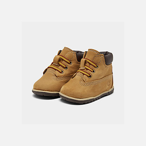 Three Quarter view of Infant Timberland 6 Inch Classic Boots in Wheat