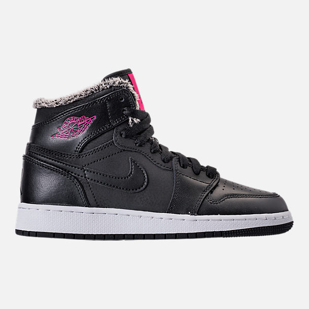 Right view of Girls' Grade School Air Jordan Retro 1 High (3.5y-9.5y) Basketball Shoes in Black/Deadly Pink/White