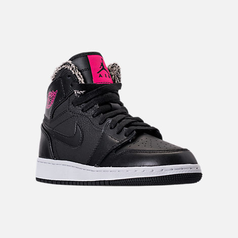 Three Quarter view of Girls' Grade School Air Jordan Retro 1 High (3.5y
