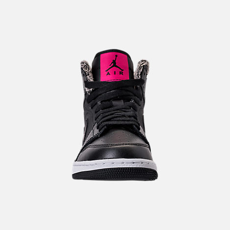 Front view of Girls' Grade School Air Jordan Retro 1 High (3.5y-9.5y) Basketball Shoes in Black/Deadly Pink/White