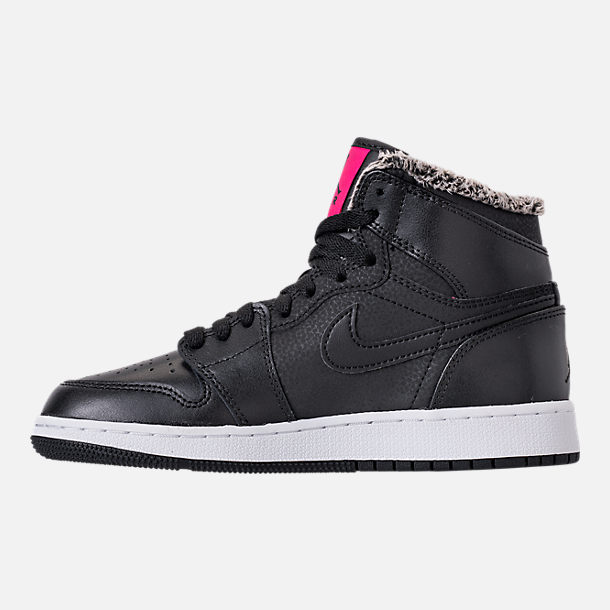 Left view of Girls' Grade School Air Jordan Retro 1 High (3.5y-9.5y) Basketball Shoes in Black/Deadly Pink/White