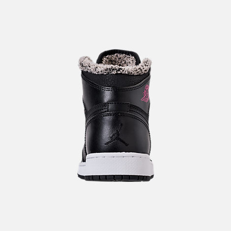 Back view of Girls' Grade School Air Jordan Retro 1 High (3.5y-9.5y) Basketball Shoes in Black/Deadly Pink/White