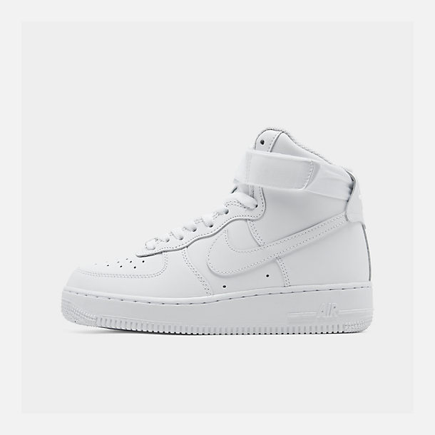 Right view of Women's Nike Air Force 1 High Casual Shoes in White/White/White