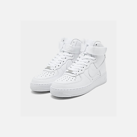 Three Quarter view of Women's Nike Air Force 1 High Casual Shoes in White/White/White