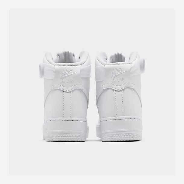 Left view of Women's Nike Air Force 1 High Casual Shoes in White/White/White