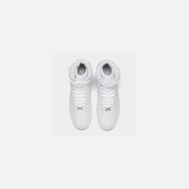 Back view of Women's Nike Air Force 1 High Casual Shoes in White/White/White