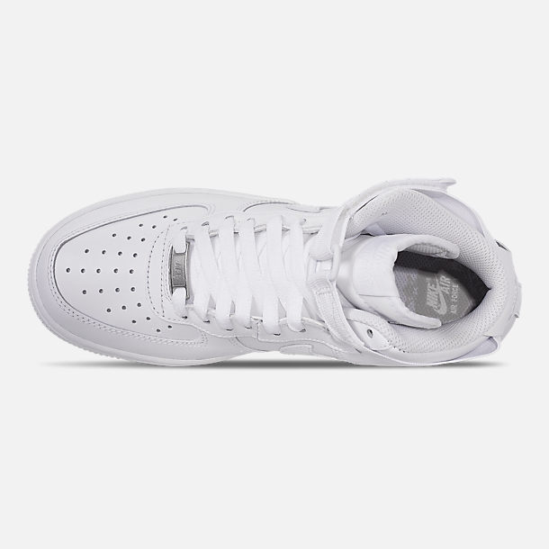 Top view of Women's Nike Air Force 1 High Casual Shoes in White/White/White