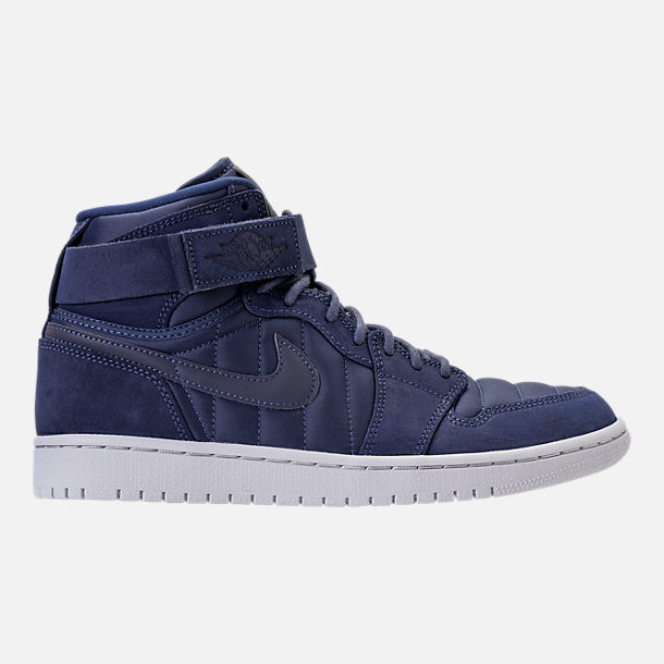 Right view of Men's Air Jordan Retro 1 High Strap Basketball Shoes in Midnight Navy/White