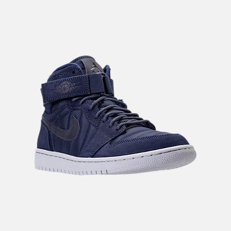 Three Quarter view of Men's Air Jordan Retro 1 High Strap Basketball Shoes in Midnight Navy/White