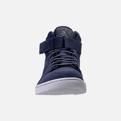Front view of Men's Air Jordan Retro 1 High Strap Basketball Shoes in Midnight Navy/White