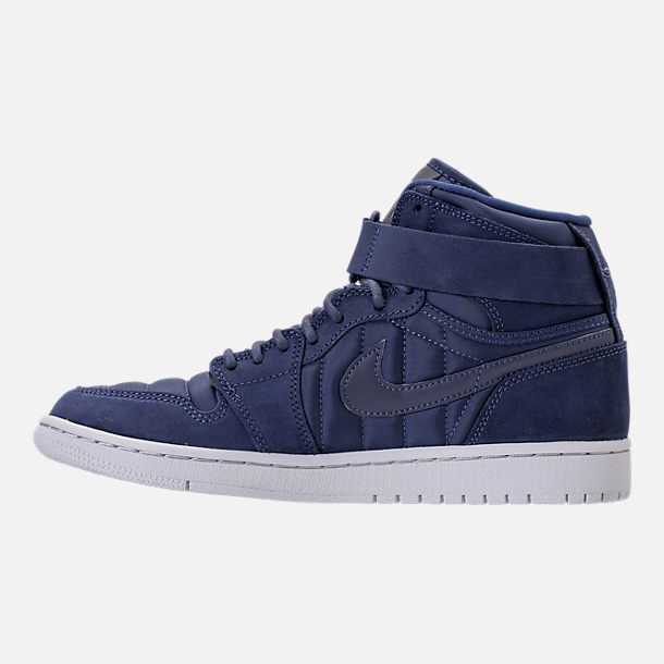 Left view of Men's Air Jordan Retro 1 High Strap Basketball Shoes in Midnight Navy/White