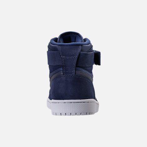Back view of Men's Air Jordan Retro 1 High Strap Basketball Shoes in Midnight Navy/White