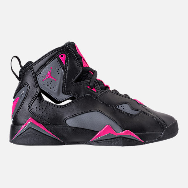 Right view of Girls' Grade School Jordan True Flight (3.5y-9.5y) Basketball Shoes in Black/Dark Grey/Deadly Pink