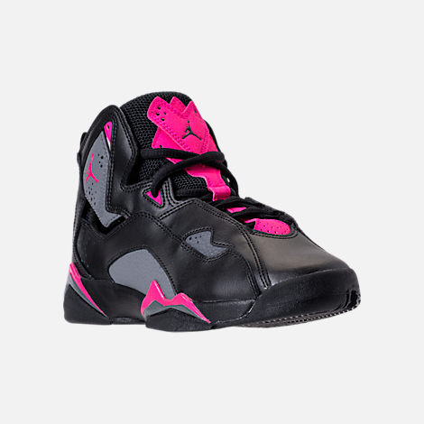 Three Quarter view of Girls' Grade School Jordan True Flight (3.5y-9.5y) Basketball Shoes in Black/Dark Grey/Deadly Pink