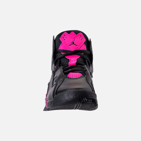Front view of Girls' Grade School Jordan True Flight (3.5y-9.5y) Basketball Shoes in Black/Dark Grey/Deadly Pink