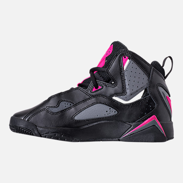 Left view of Girls' Grade School Jordan True Flight (3.5y-9.5y) Basketball Shoes in Black/Dark Grey/Deadly Pink