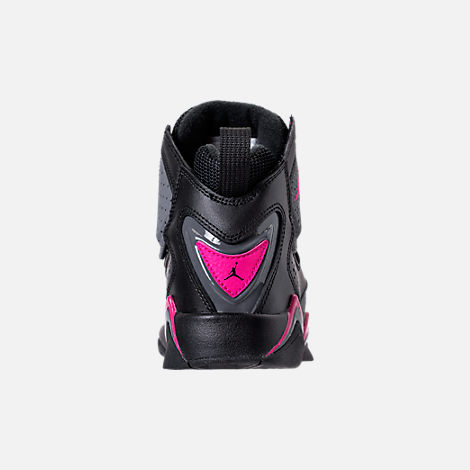 Back view of Girls' Grade School Jordan True Flight (3.5y-9.5y) Basketball Shoes in Black/Dark Grey/Deadly Pink