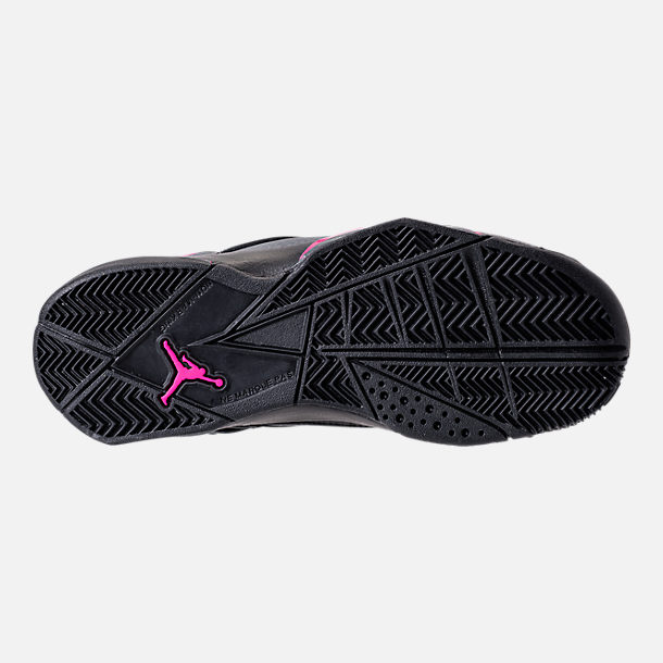 Bottom view of Girls' Grade School Jordan True Flight (3.5y-9.5y) Basketball Shoes in Black/Dark Grey/Deadly Pink