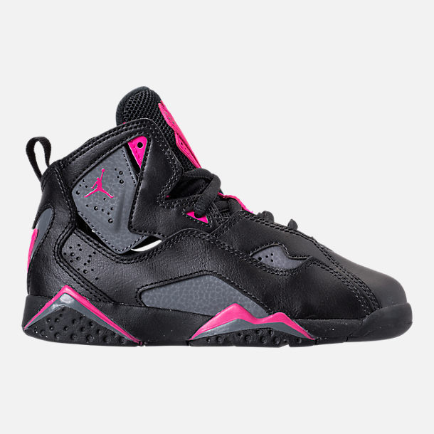 Right view of Girls Preschool Jordan True Flight Basketball Shoes in Black Dark Grey