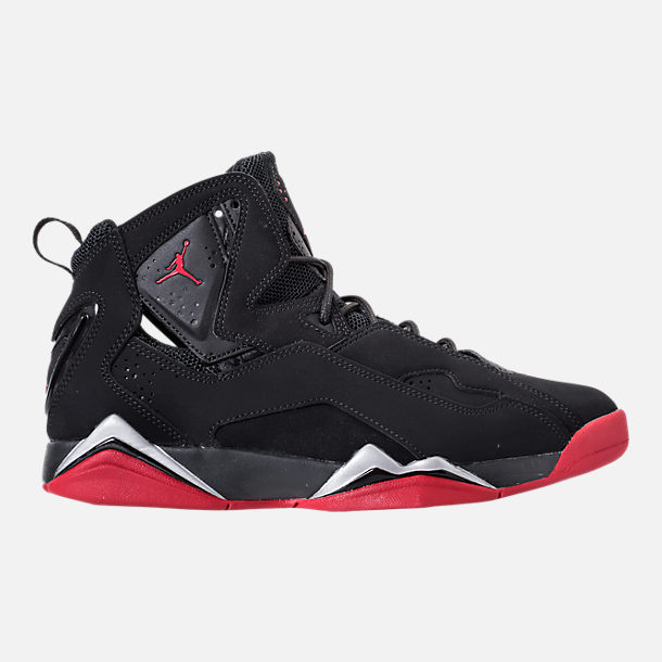 Right view of Men's Jordan True Flight Basketball Shoes in Black/Gym  Red/Metallic
