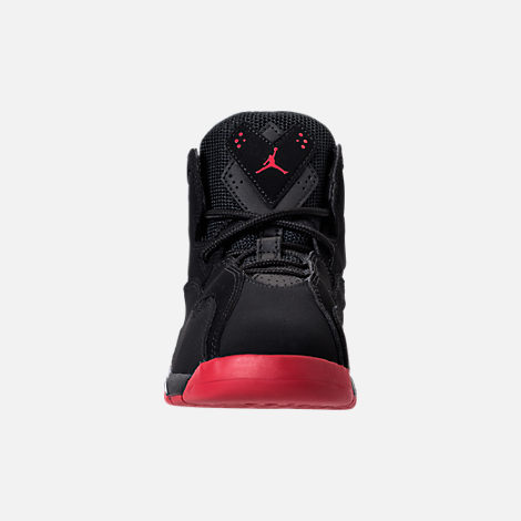 Front view of Boys' Preschool Jordan True Flight Basketball Shoes in Black/Gym Red/Metallic Silver